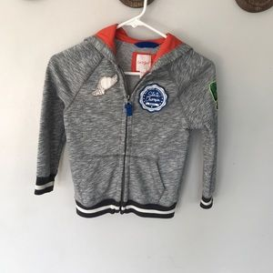 Cat and jack grey zip up hoodies boys size XS 4/5